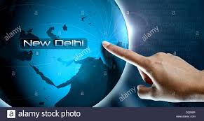 New Delhi India Map by A Finger Of Woman Point The City New Delhi India Asia On A World