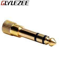 aliexpress buy hot gold plated 5mm 3 5mm tungsten 6 5mm to 3 5mm stereo mic audio adapter gold plated