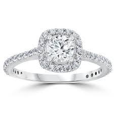 cushion halo engagement rings 1 1 5ct cushion halo engagement ring 10k white gold
