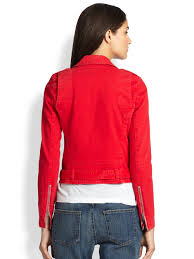 red motorcycle jacket current elliott denim motorcycle jacket in red lyst