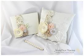 wedding guest book pen set of 3 wedding bridal handmade lace ring pillow and guest book