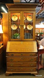 pennsylvania house drop front secretary desk with lighted glass