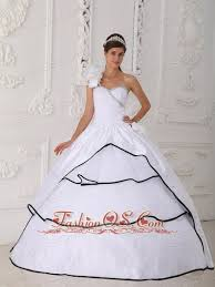 black and white quinceanera dresses beautiful white quinceanera dress one shoulder neck taffeta and