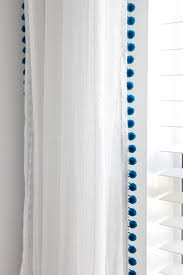 White Curtains With Pom Poms Decorating Diy No Sew Pom Pom Curtains Orc Week 5 Bless Er House