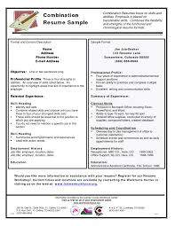 Sample Combination Resume Example by Cover Letter Combination Resume Example Combination Resume