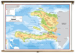 World Elevation Map by Haiti Physical Educational Wall Map From Academia Maps