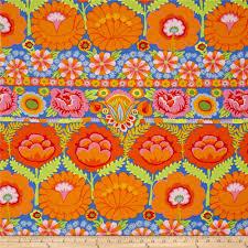 kaffe fassett home decor fabric artisan by kaffe fasset embroidered flower orange discount