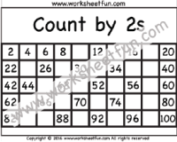 Skip Count By 2s Hundreds Chart Skip Counting By 2 Count By 2s Three Worksheets Printable