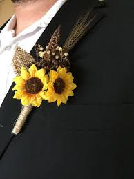 sunflower corsage rustic sunflower summer fall wedding boutonniere or corsage for