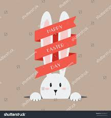 white easter rabbit red ribbon greeting stock vector 390180715