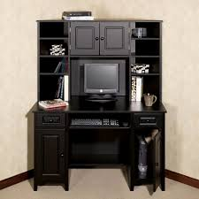 Corner Dining Hutch Furniture Black Stained Wood Corner Computer Table With Hutch And