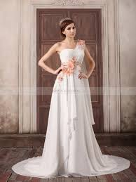 floral one shoulder chiffon a line wedding dress with shoulder draping