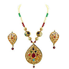 coloured stone necklace images Drop shaped big gold plated motif shell pearl coloured stone jpg