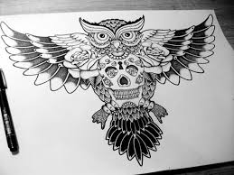 open wings owl and skull tattoo design
