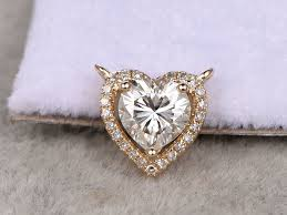diamond ring necklace images Moissanite pendant necklace yellow gold halo diamond heart shaped jpg