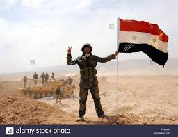Rebel Syrian Flag Damascus Syria 19th Mar 2016 A Syrian Soldier Poses With The