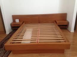 danish modern jesper platform bed floating nightstands mcm mid