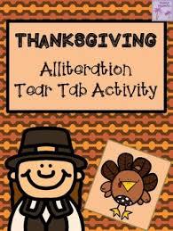thanksgiving alliteration tear tab activity alliteration