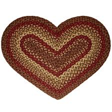 Primitive Country Area Rugs Amazon Com Cinnamon Heart Shaped Braided Rug Kitchen U0026 Dining