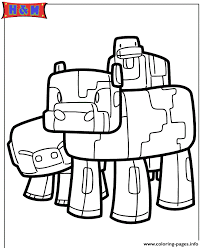 minecraft pig cow and duck coloring pages printable