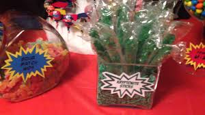cool super hero candy buffet candy bar birthday party youtube