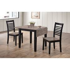 ebony and gray 3 piece drop leaf dining set south beach
