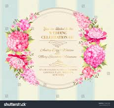 Invitation Card For Marriage In English Wedding Invitation Card Pink Flowers Vintage Stock Vector