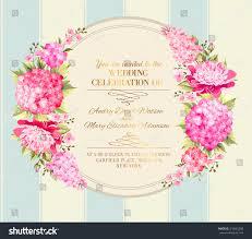 Wedding Invitation Card Templates Wedding Invitation Card Pink Flowers Vintage Stock Vector