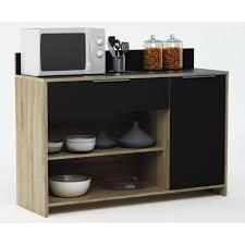 meuble cuisine mike buffet de cuisine l 123cm décor chêne brut et noir achat