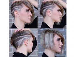 long hair sweeped side fringe shaved short hairstyle with side swept long fringe and shaved pattern
