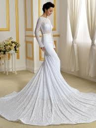 scoop neck lace wedding dress sheer lace scoop neck sleeve white mermaid lace wedding dress