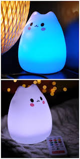 usb cat night light 7 color changeable silicone led l kawaii cat shaped usb