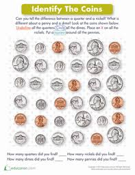 coin identification worksheet identifying coins worksheet education