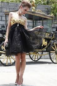 ball gown sweetheart empire waist short black organza gold sequin