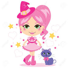 pink witch costume cute little in pink witch dress on halloween royalty free