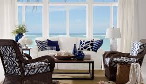 Decorating With A Blue Sofa by Sofa Beautiful Coastal Living Room With Wicker Armchairs And