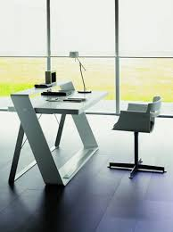 white simple desk simple office table interiors design
