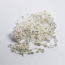 wedding lasso rosary ivory pearl 3 item set silver wedding lazo rosary arras lazo