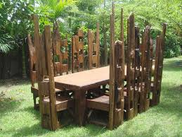 Reclaimed Teak  High Chair Set - Reclaimed teak dining table and chairs