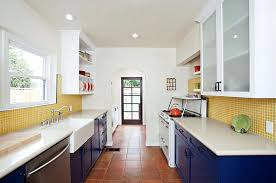 backsplash for yellow kitchen blue and yellow kitchen eclectic kitchen with blue cabinets and