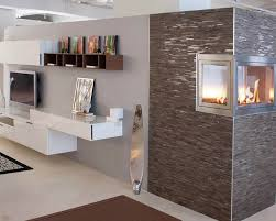 decor u0026 tips chic stacked stone tile with ventless fireplace and