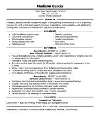Best Receptionist Resumes by Receptionist Resume Templates U2013 Resume Examples