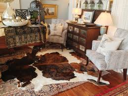 faux cowhide rug brown and white for classic livingroom design