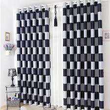 european brief white black coffee plaid blackout sheer window