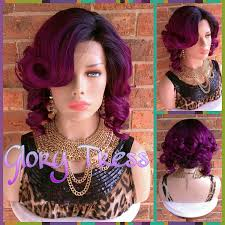 short curly bob wig ready to ship short curly lace front wig ombre purple bob wig