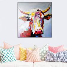 big size paintings handmade wall painting color cow picture on
