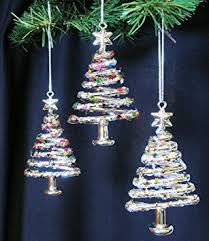 glass tree ornaments set of 3 trees