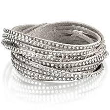 leather bracelet swarovski images The emirates high street swarovski slake bracelet crystal gray jpg