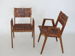 Woven Dining Room Chairs by Woven Leather Chair Chic And Unique Pair Of Vintage French Hand