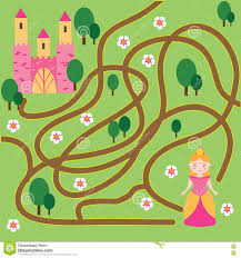 maze game fairytales theme help princess find home stock vector